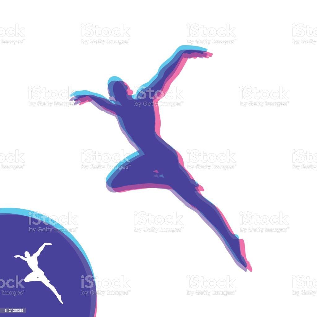 Silhouette of a Dancer. Gymnast. Man is Posing and Dancing. Sport Symbol. Ballerina standing on tiptoe. Design Element. Vector Illustration. vector art illustration