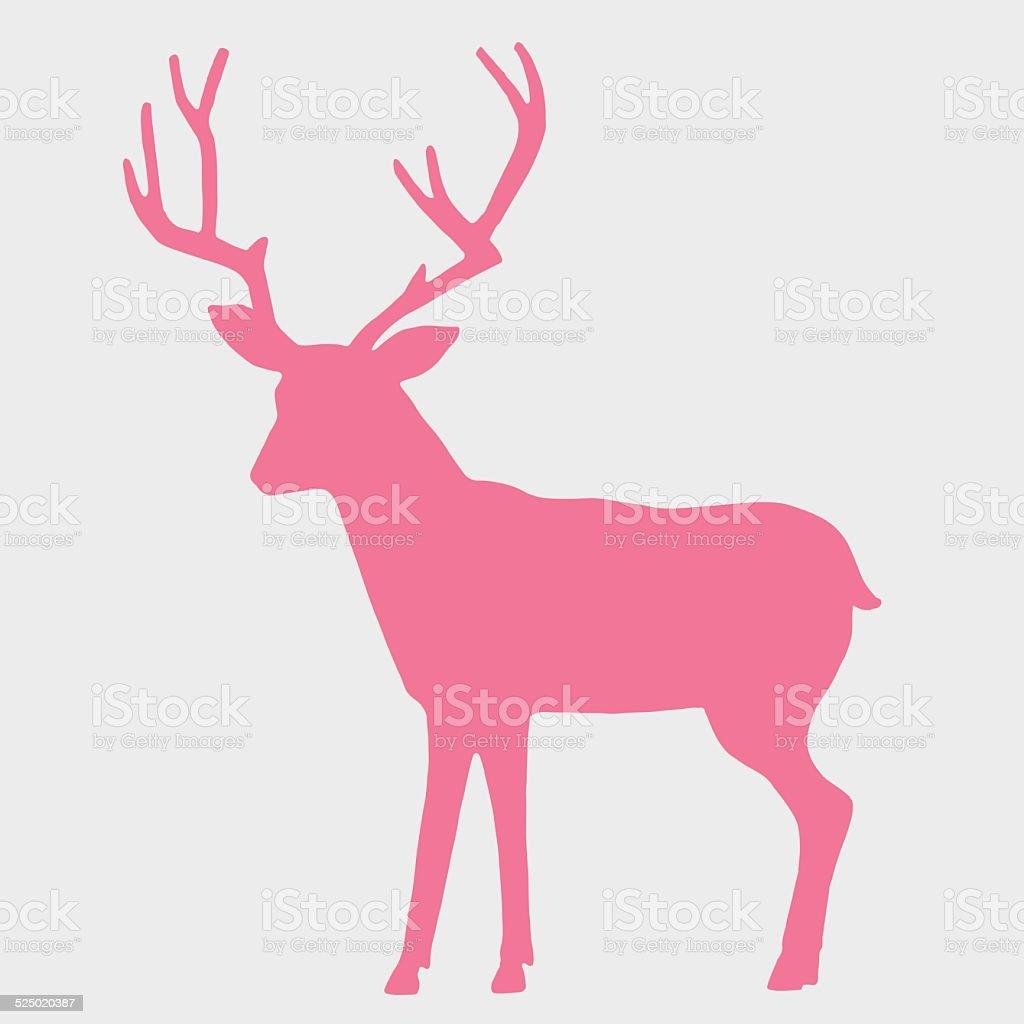 Silhouette of a Deer vector art illustration