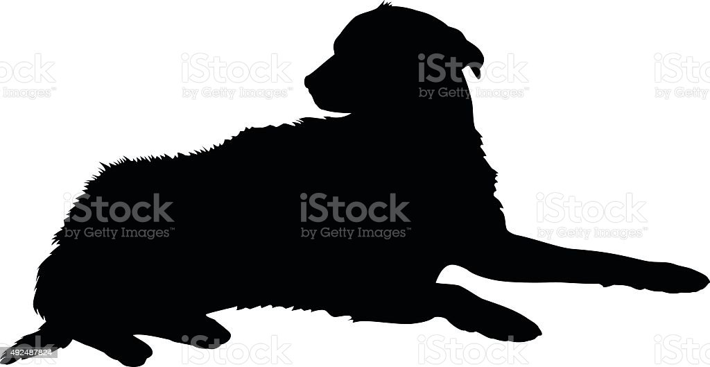 Silhouette of a dog vector art illustration