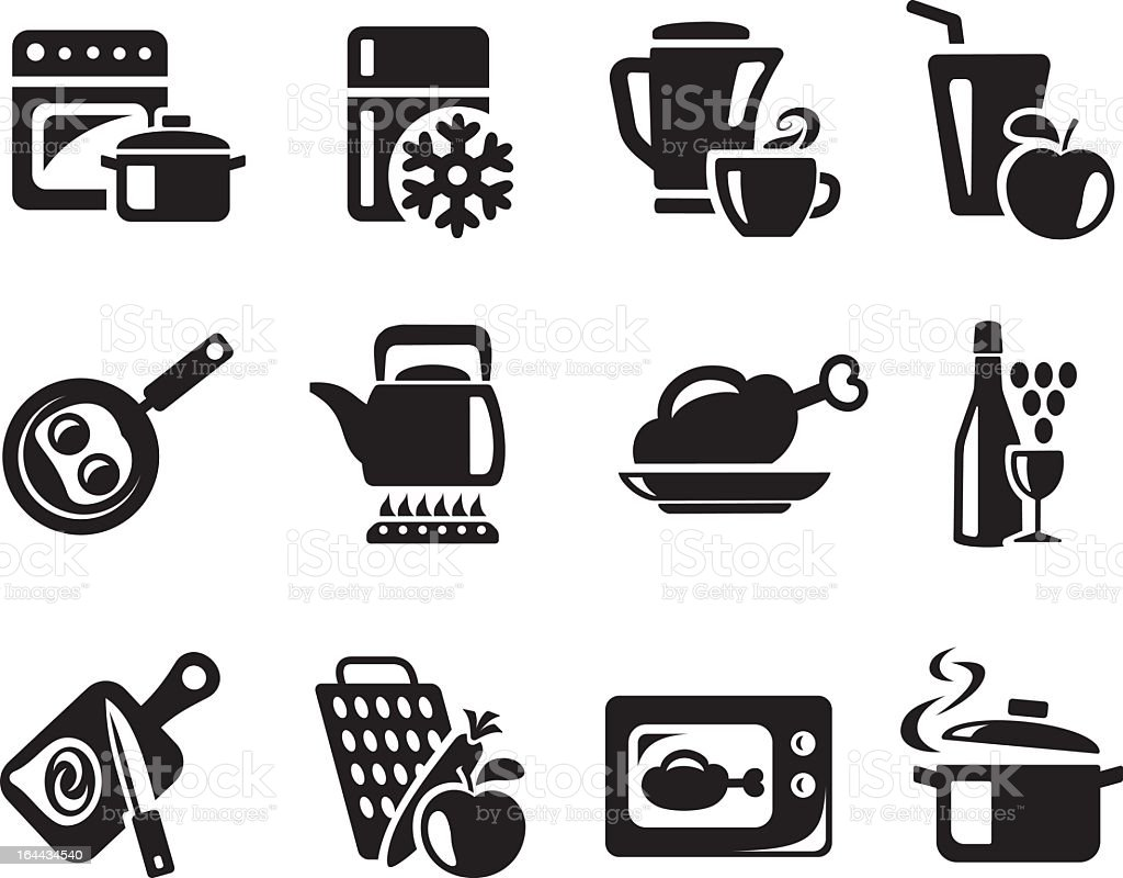 Silhouette of a dozen of kitchen and cooking icons royalty-free stock vector art