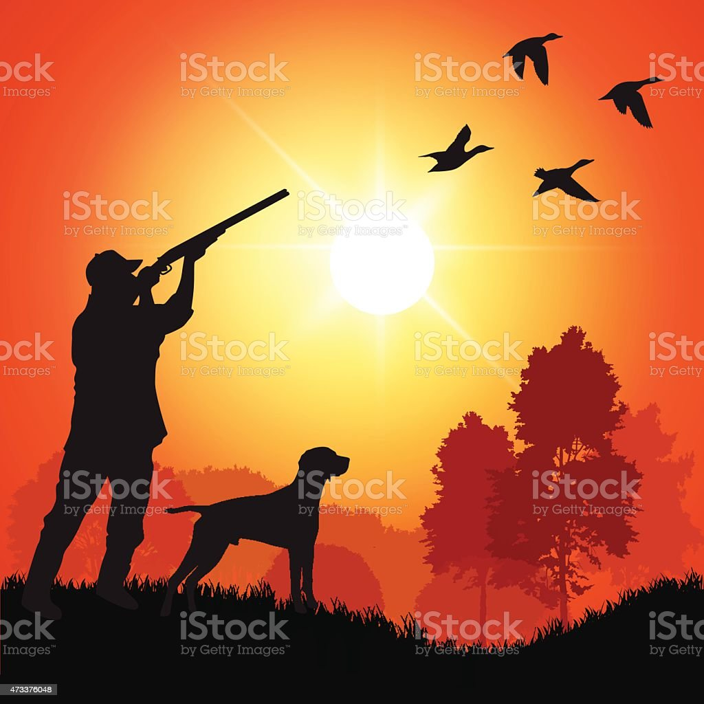 A silhouette of a duck hunter with a dog at sunset  vector art illustration