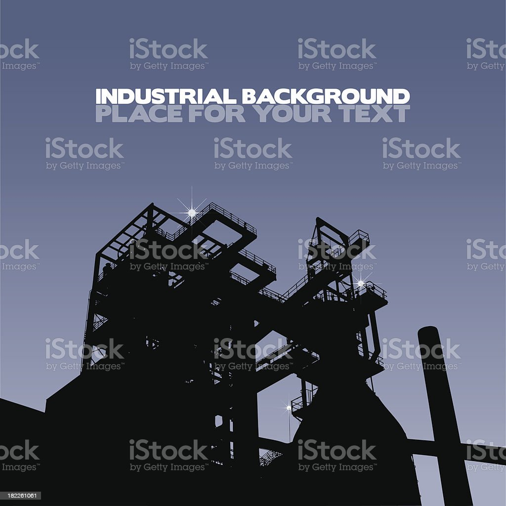 Silhouette of a factory vector art illustration