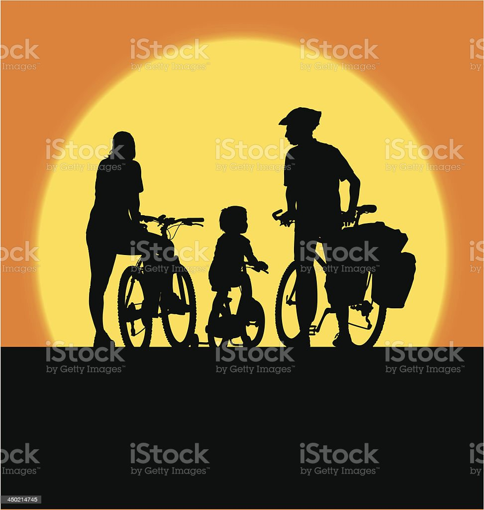 A silhouette of a family of three cycling together royalty-free stock vector art