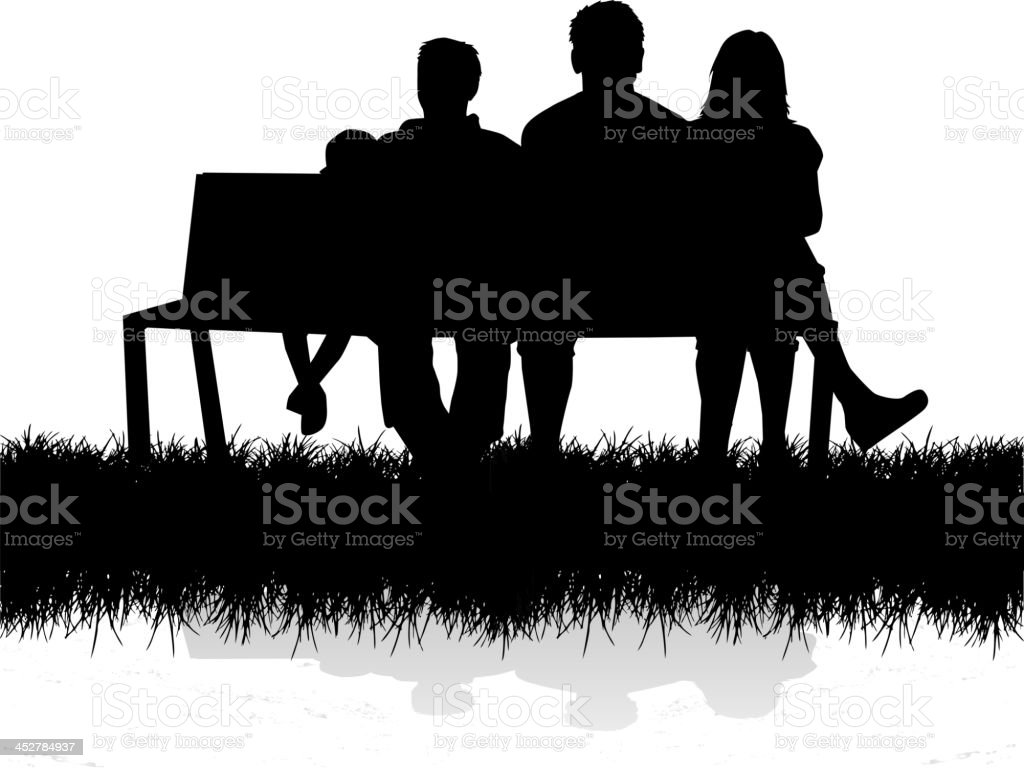 A silhouette of a family sitting on a bench outside vector art illustration