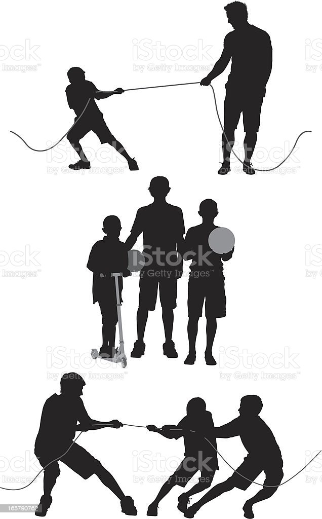 Silhouette of a family royalty-free stock vector art