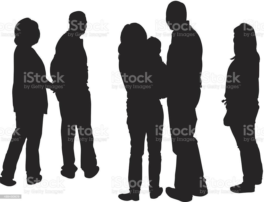 Silhouette of a family vector art illustration