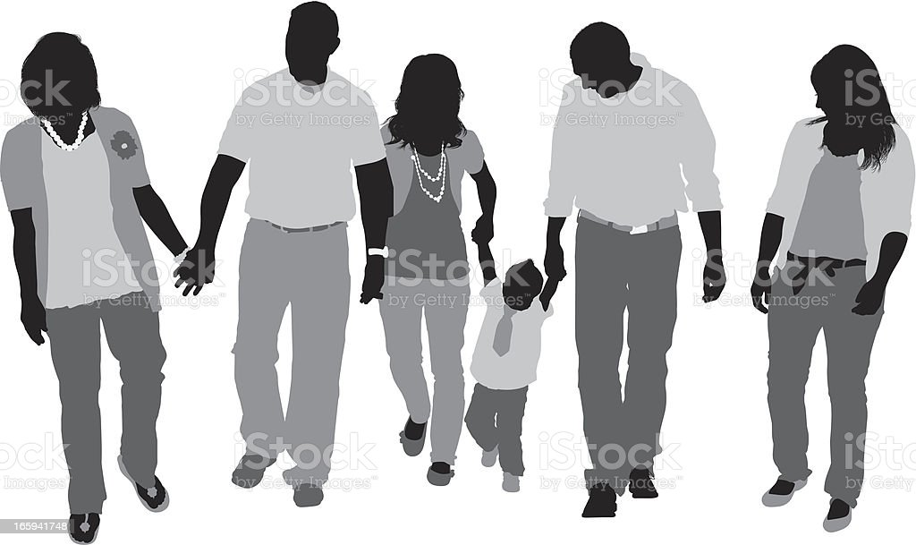 Silhouette of a family walking vector art illustration