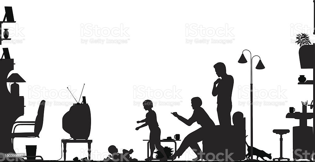 Silhouette of a family with a baby watching television vector art illustration