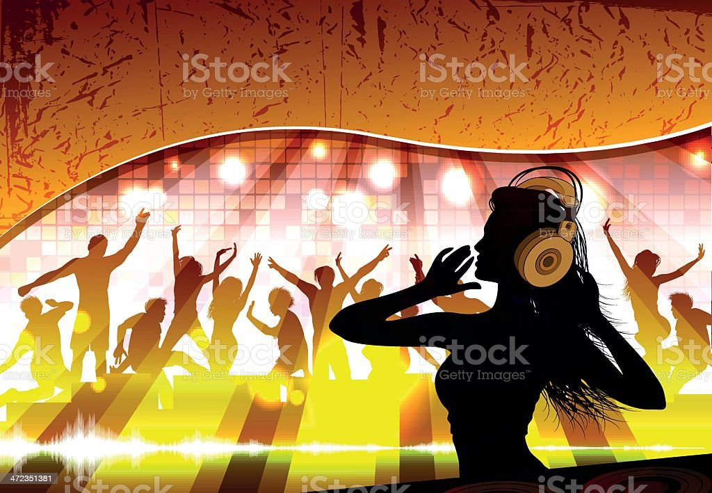 Silhouette of a female dj against crowd royalty-free stock vector art