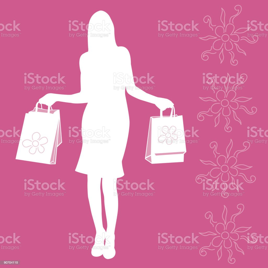 A silhouette of a female shopper holding bags royalty-free stock vector art