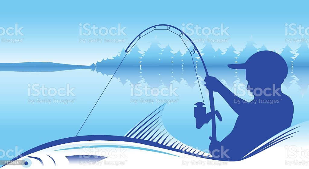 A silhouette of a fisherman that caught a giant fish  vector art illustration