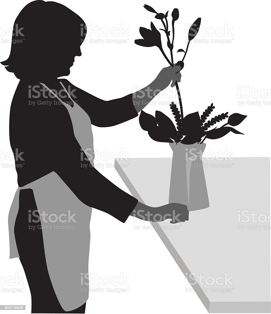 Silhouette Of A Florist At Work vector art illustration