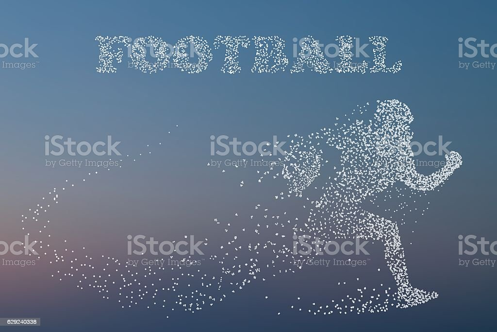 Silhouette of a football player. vector art illustration