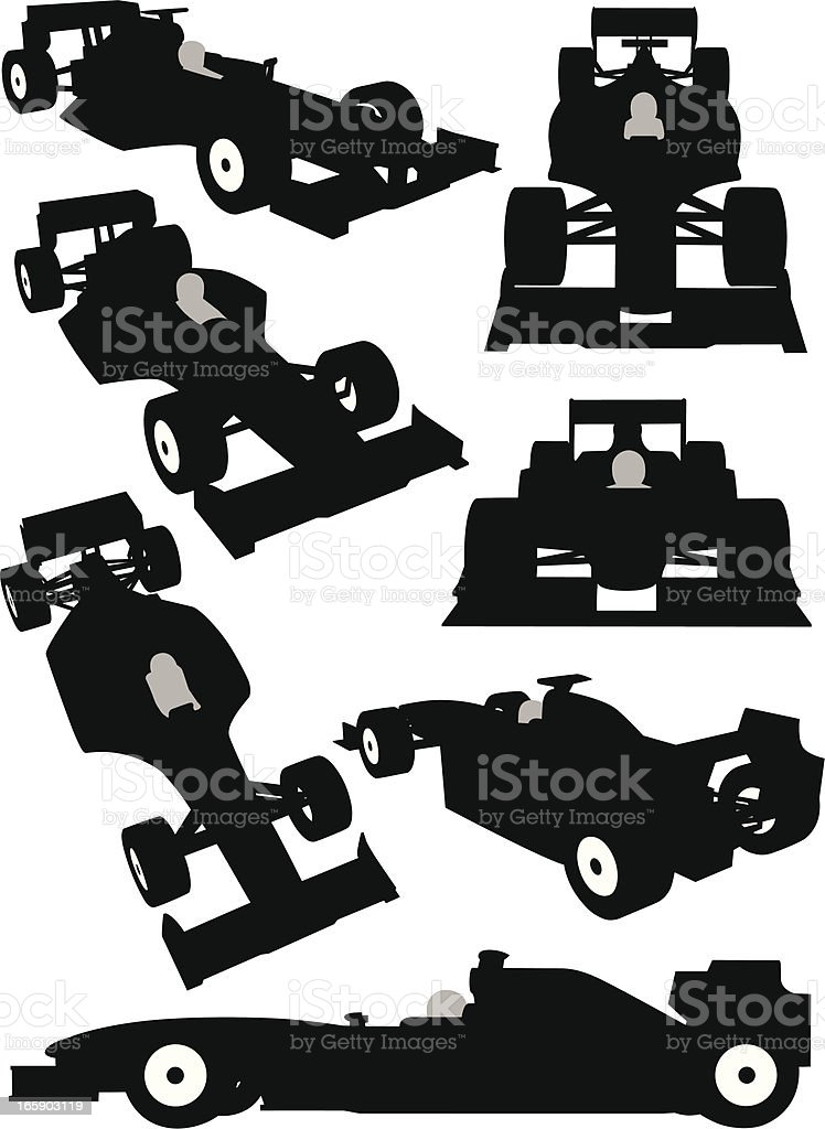 Silhouette of a Formula One car seen from different angles vector art illustration