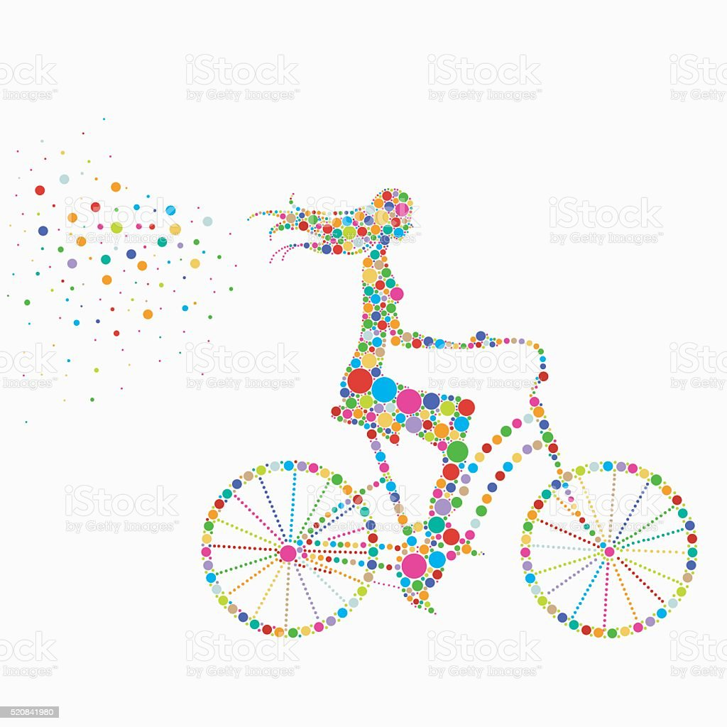 silhouette of a girl on a bicycle royalty-free stock vector art