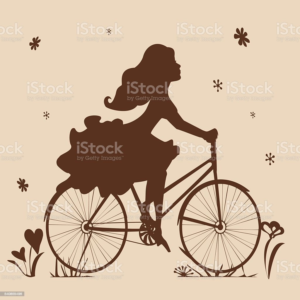 Silhouette of a girl on a bike in brown tones vector art illustration