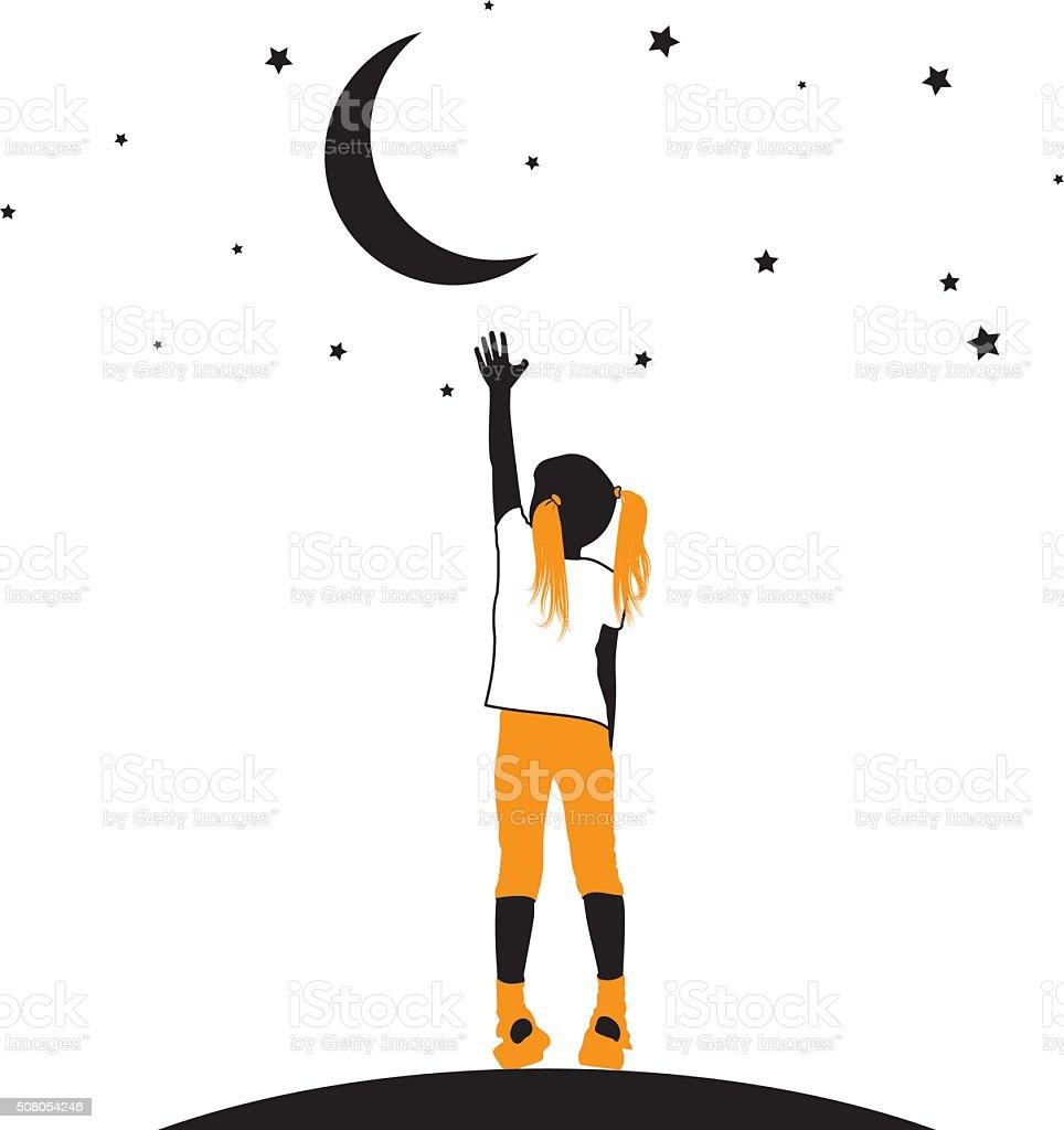 Silhouette of a girl reaching for the stars vector art illustration