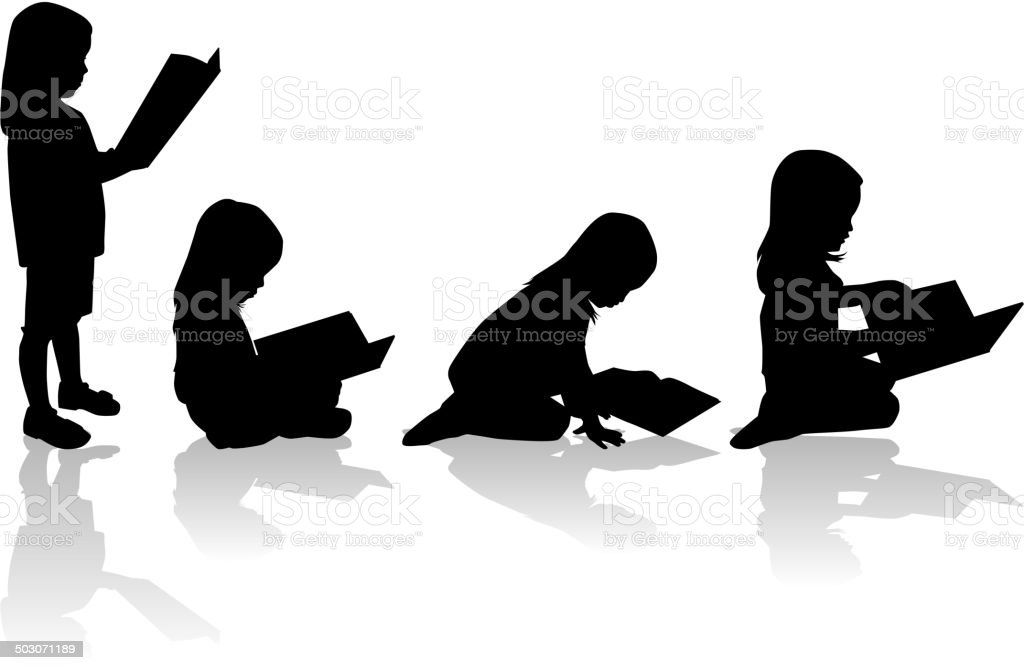 Silhouette of a girl reading a book. vector art illustration