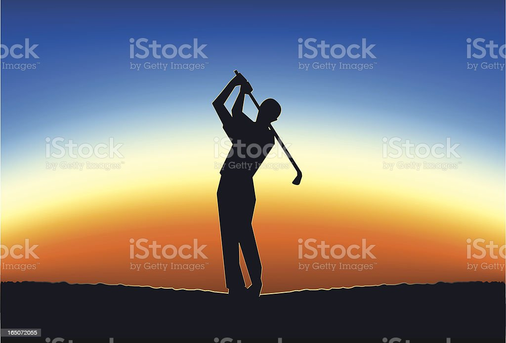 Silhouette of a golfer taking a swing into the sunset royalty-free stock vector art