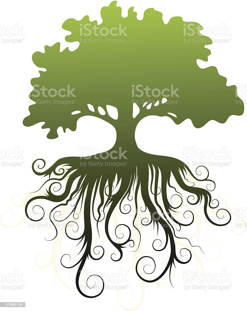 A silhouette of a green tree and its roots vector art illustration