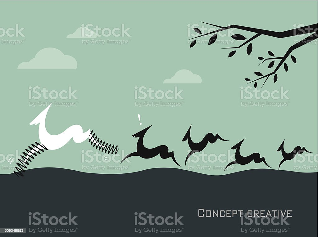 Silhouette of a herd of deer on blue background. royalty-free stock vector art