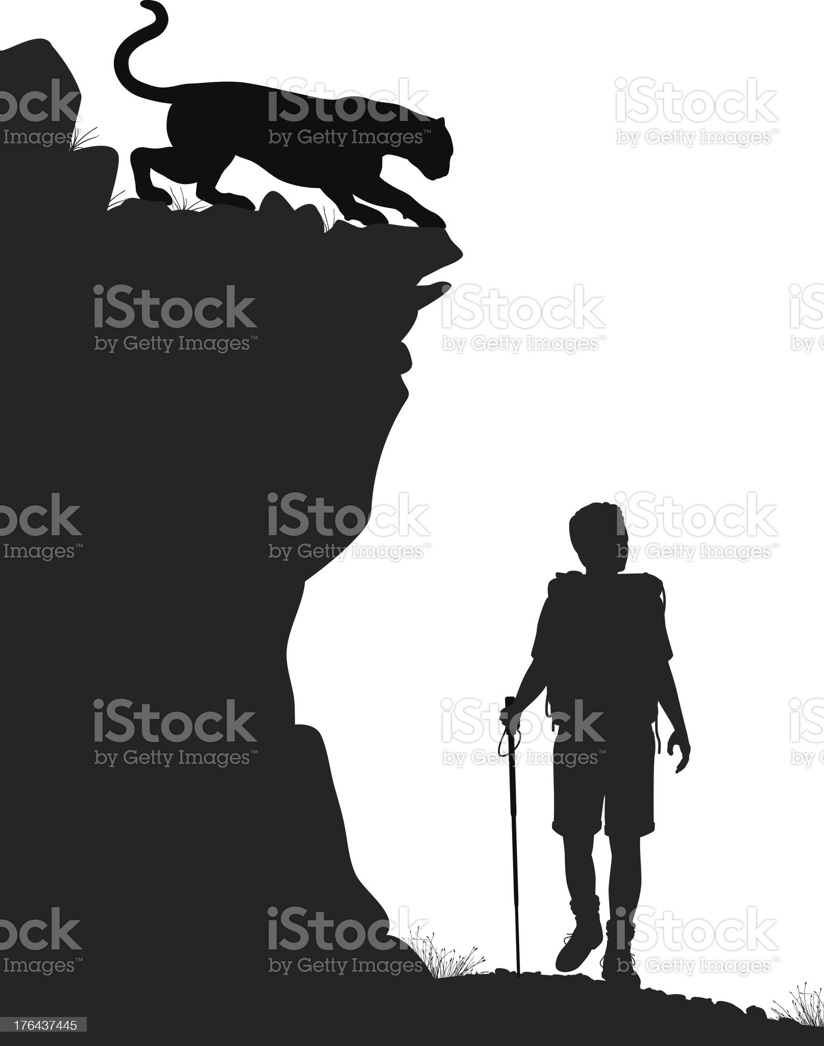 Silhouette of a hiker with a mountain lion stalking royalty-free stock vector art