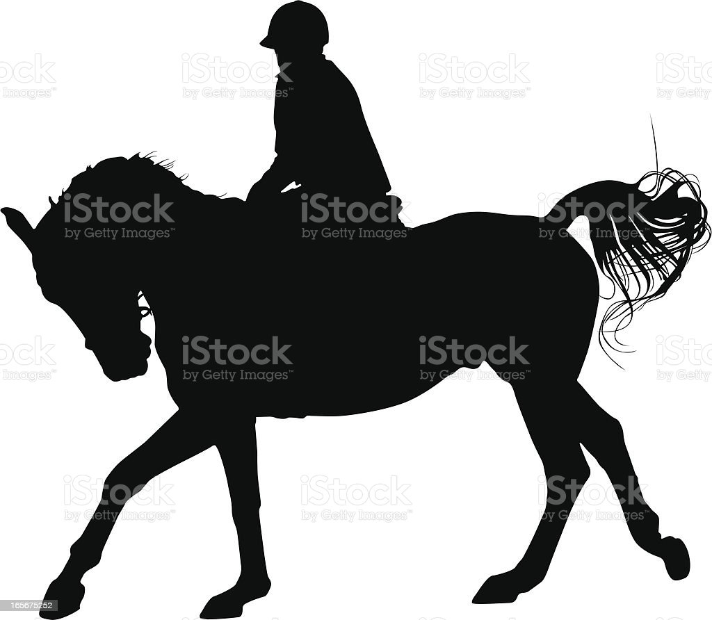Silhouette of a horse being ridden on white background vector art illustration