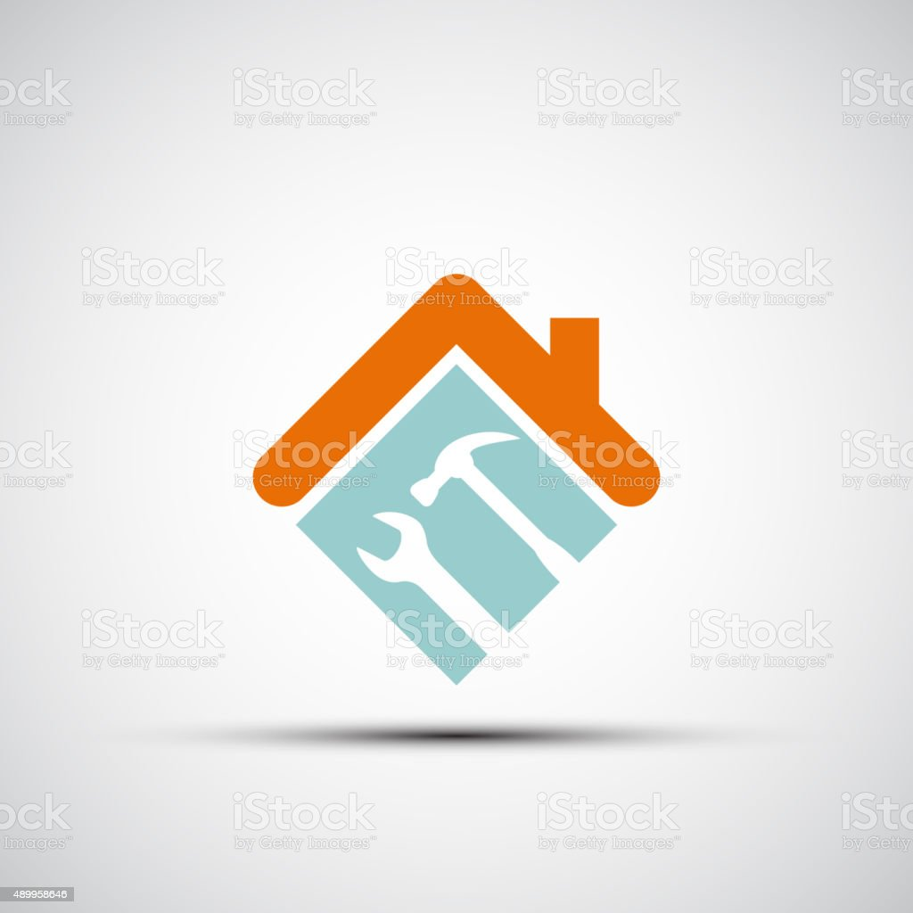 Silhouette of a house with a wrench and a hammer. vector art illustration