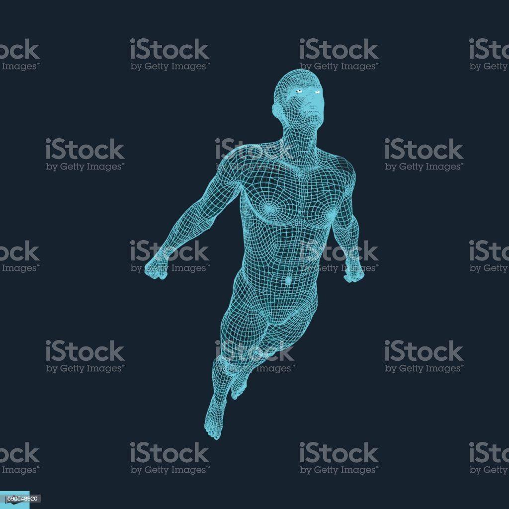 Silhouette of a Jumping Man. 3D Model of Man. Geometric Design. Polygonal Covering Skin. Human Body Model. Vector Illustration. vector art illustration