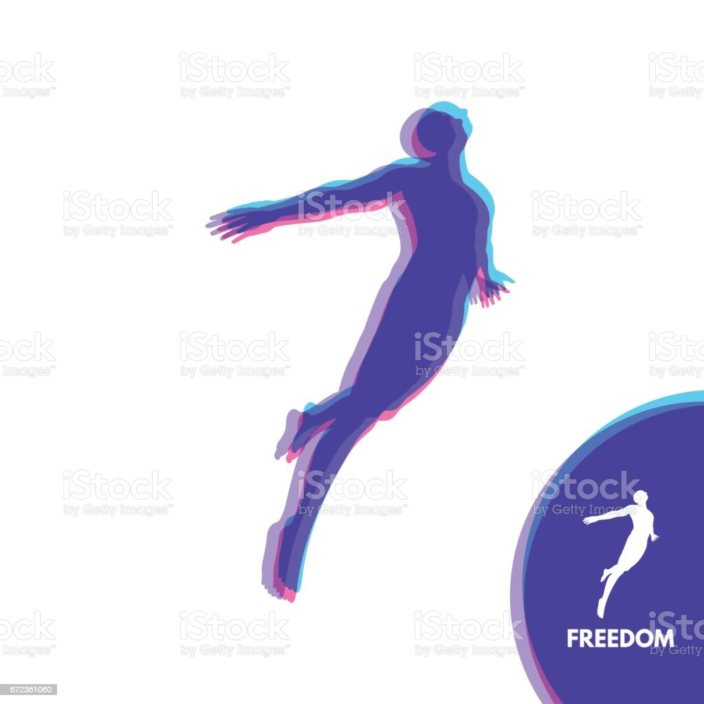 Silhouette of a jumping man. Freedom concept. vector art illustration