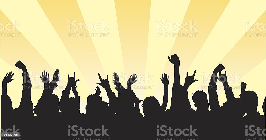 Silhouette of a large group of people vector art illustration