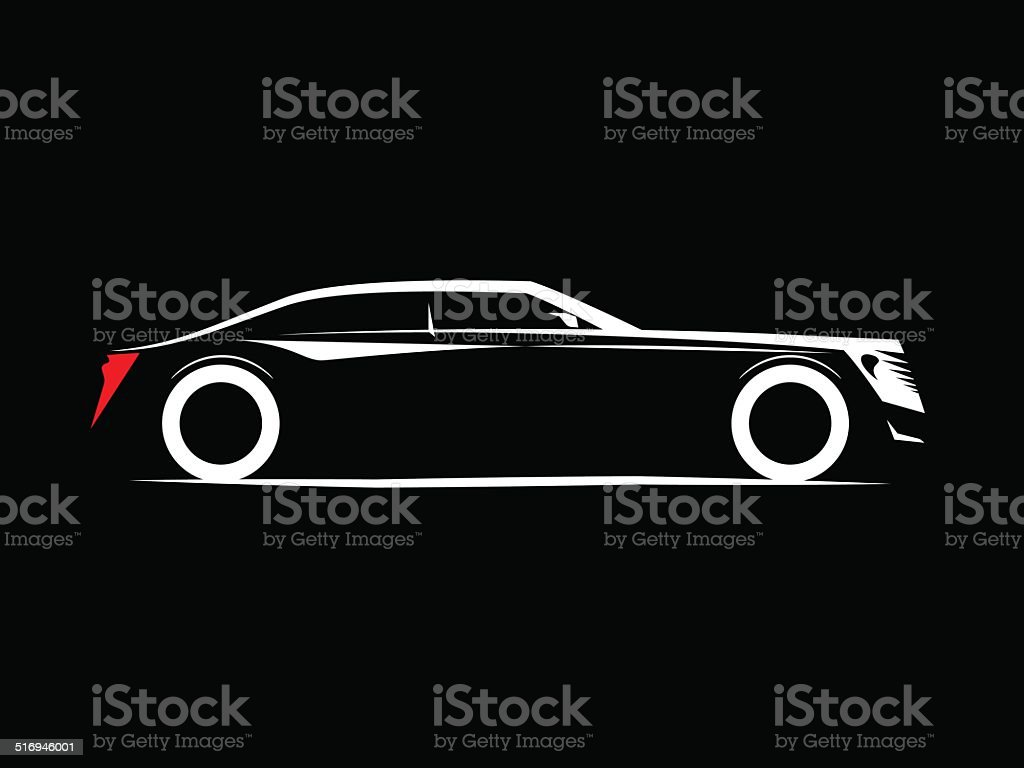 silhouette of a luxury car on a black background vector art illustration
