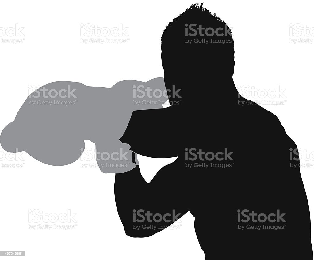 Silhouette of a male boxer in action royalty-free stock vector art