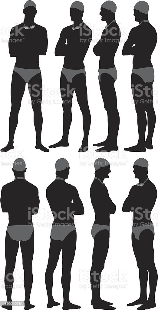 Silhouette of a male swimmer posing vector art illustration