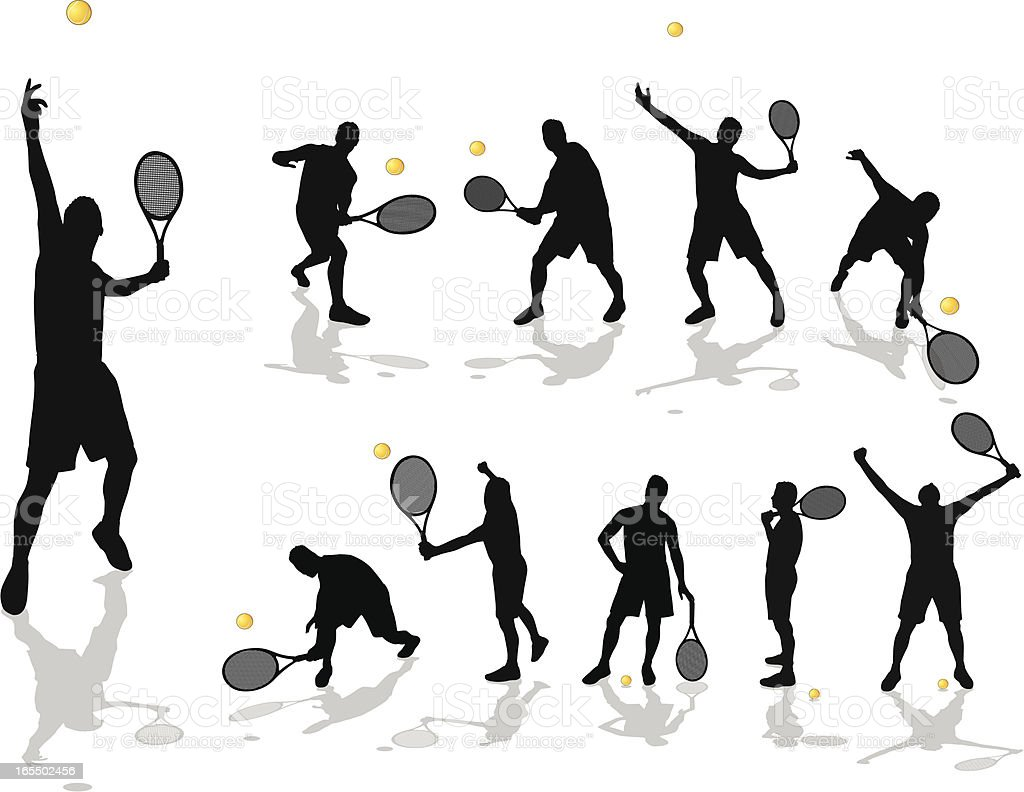 Silhouette of a male tennis player in various poses vector art illustration