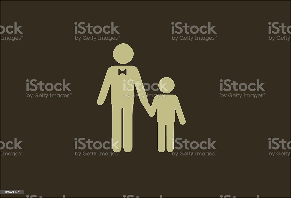Silhouette of a man and child on a brown background royalty-free stock vector art