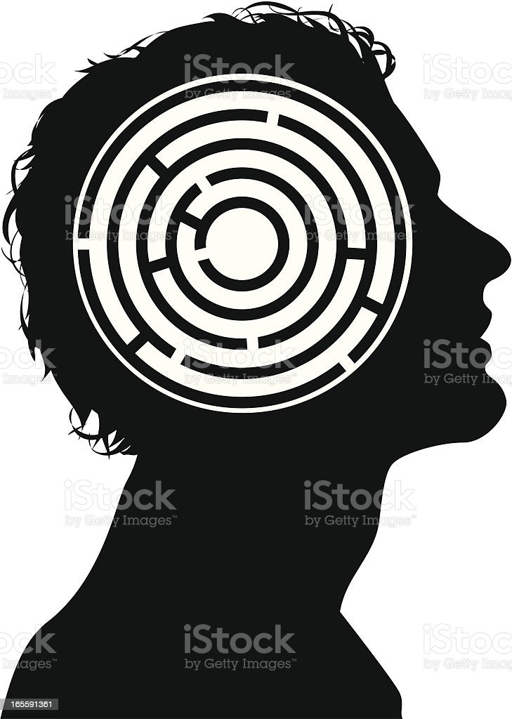 A silhouette of a man and his mind maze royalty-free stock vector art
