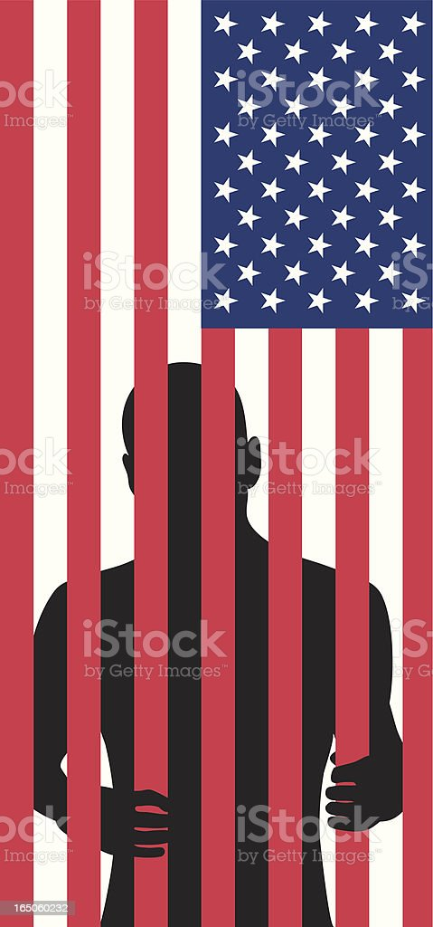 Silhouette of a man behind bars made of flag stripes vector art illustration