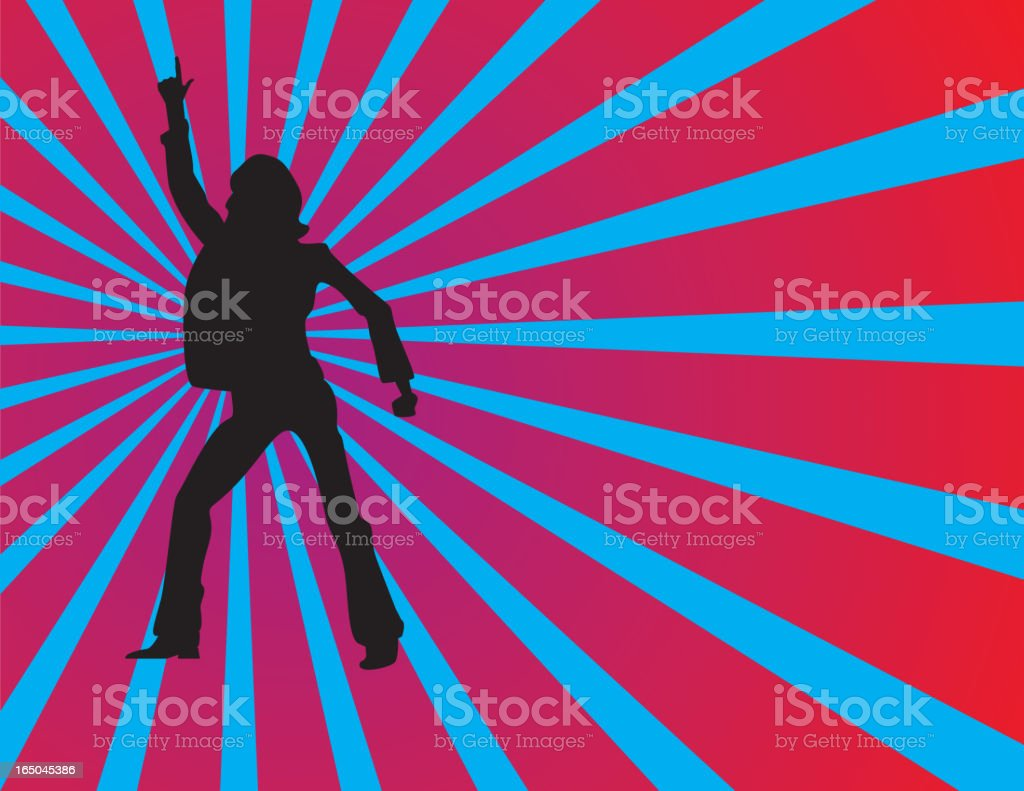 Silhouette of a man doing a disco dance vector art illustration