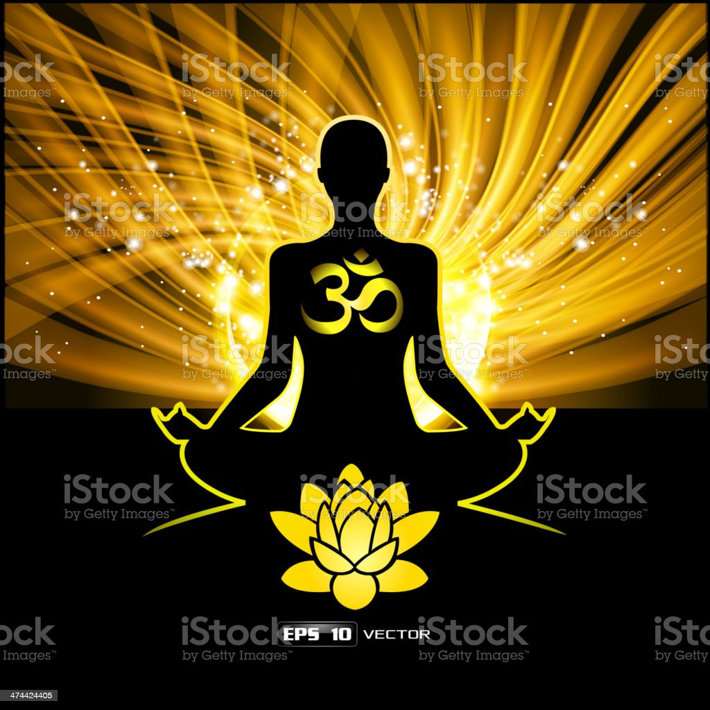 Silhouette of a man figure meditating on a shine blue background vector art illustration