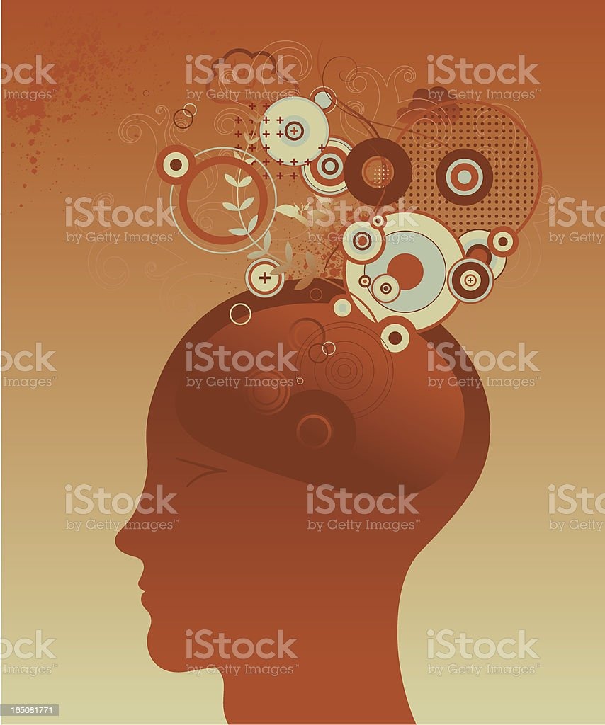 Silhouette of a man head with icons above him royalty-free stock vector art