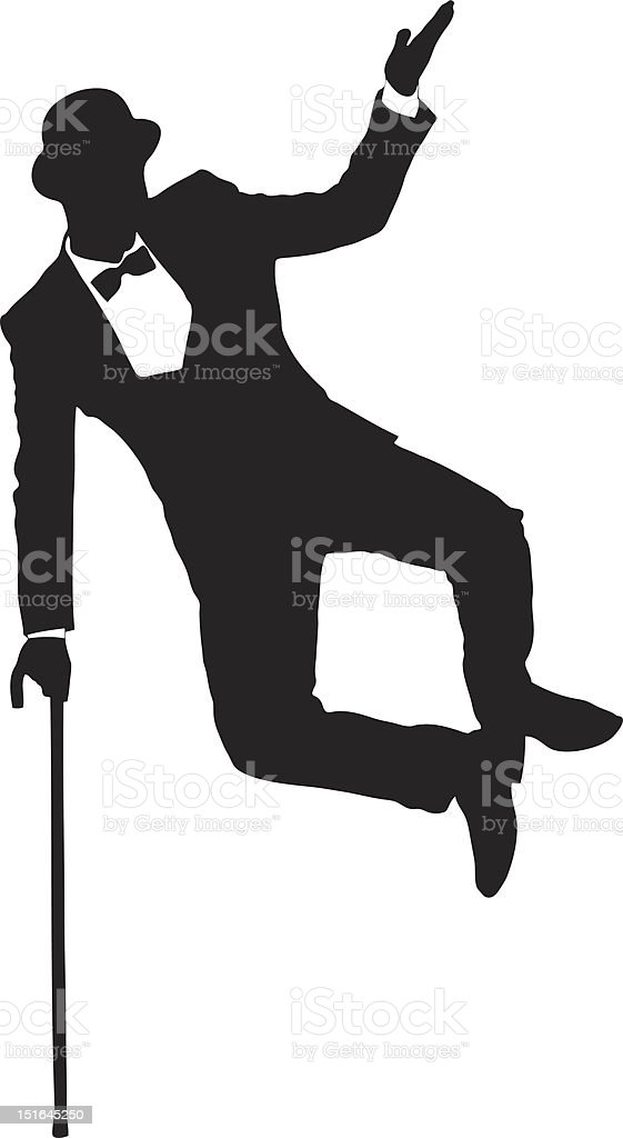 Silhouette of a man holding cane and dancing vector art illustration