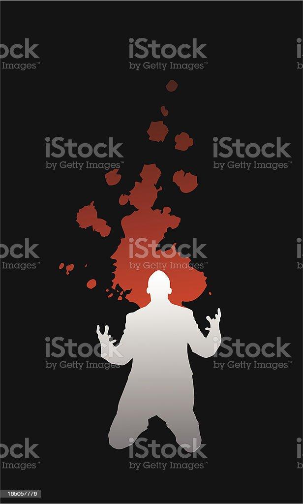 Silhouette of a Man in Despair Vector royalty-free stock vector art