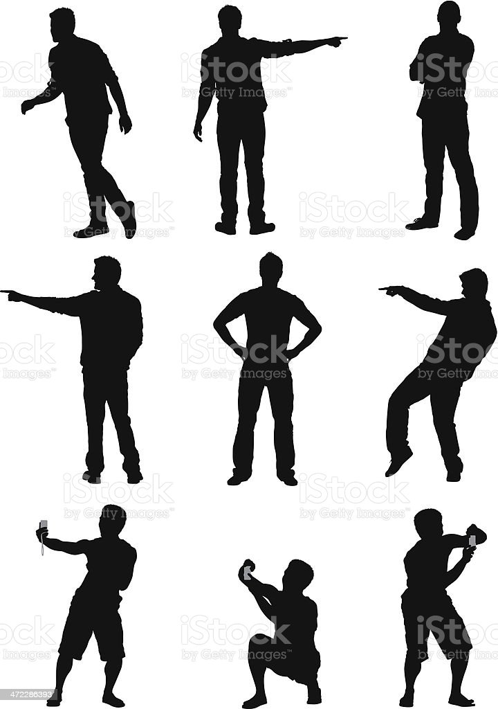 Silhouette of a man in different poses vector art illustration