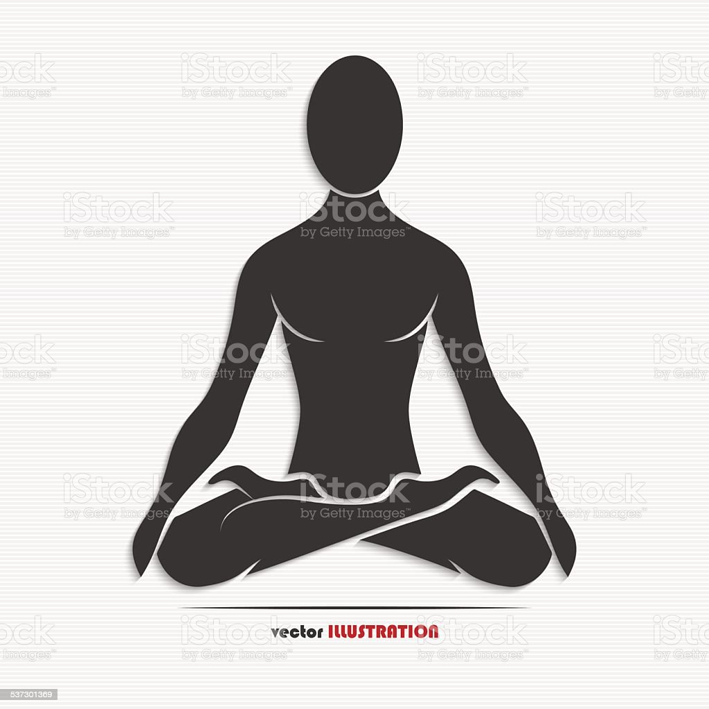 Silhouette of a man in the yoga pose vector art illustration