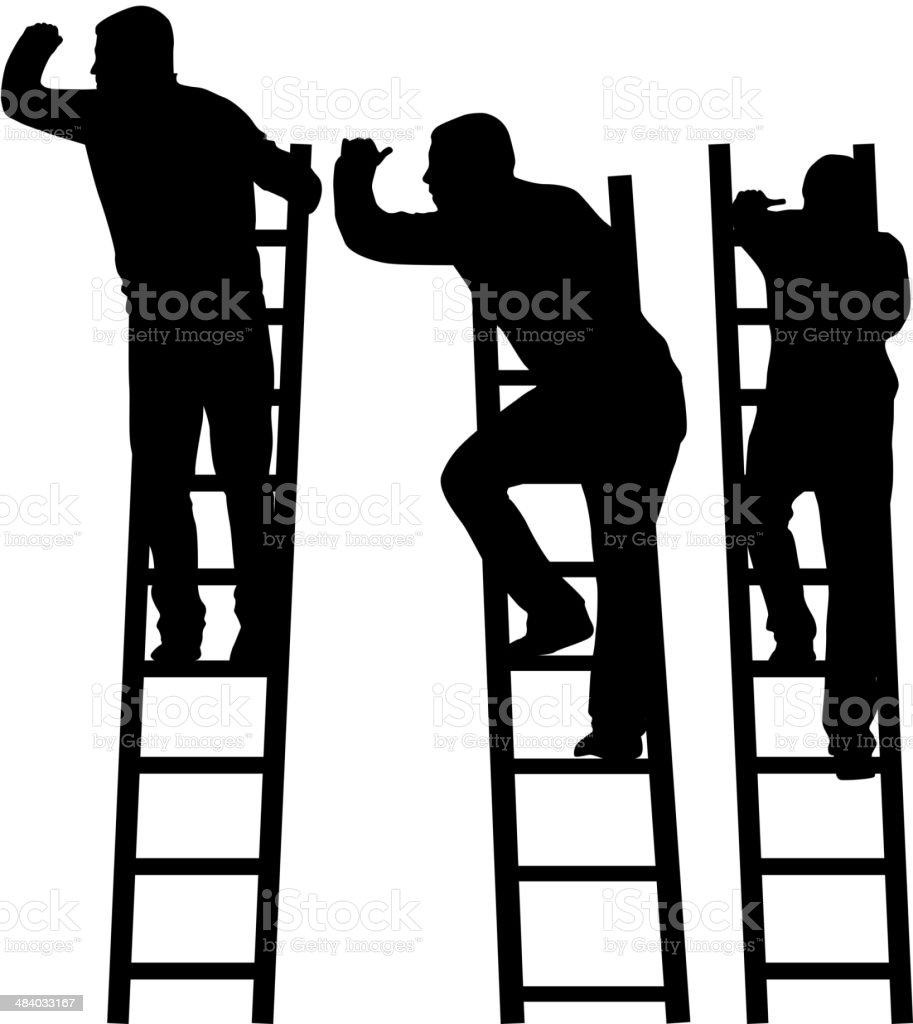 Silhouette of a man on a ladder. vector art illustration