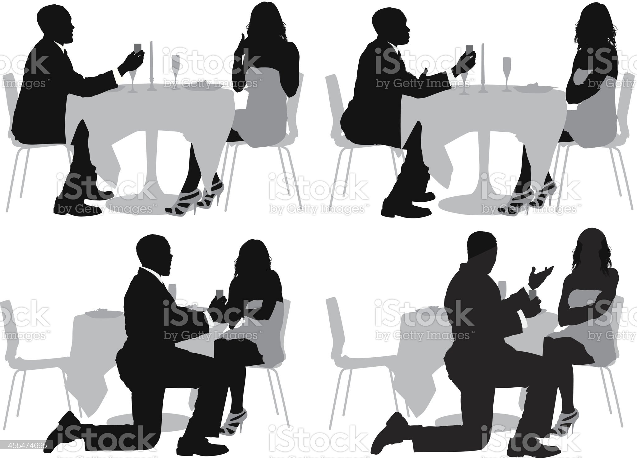 Silhouette of a man proposing to his girlfriend royalty-free stock vector art