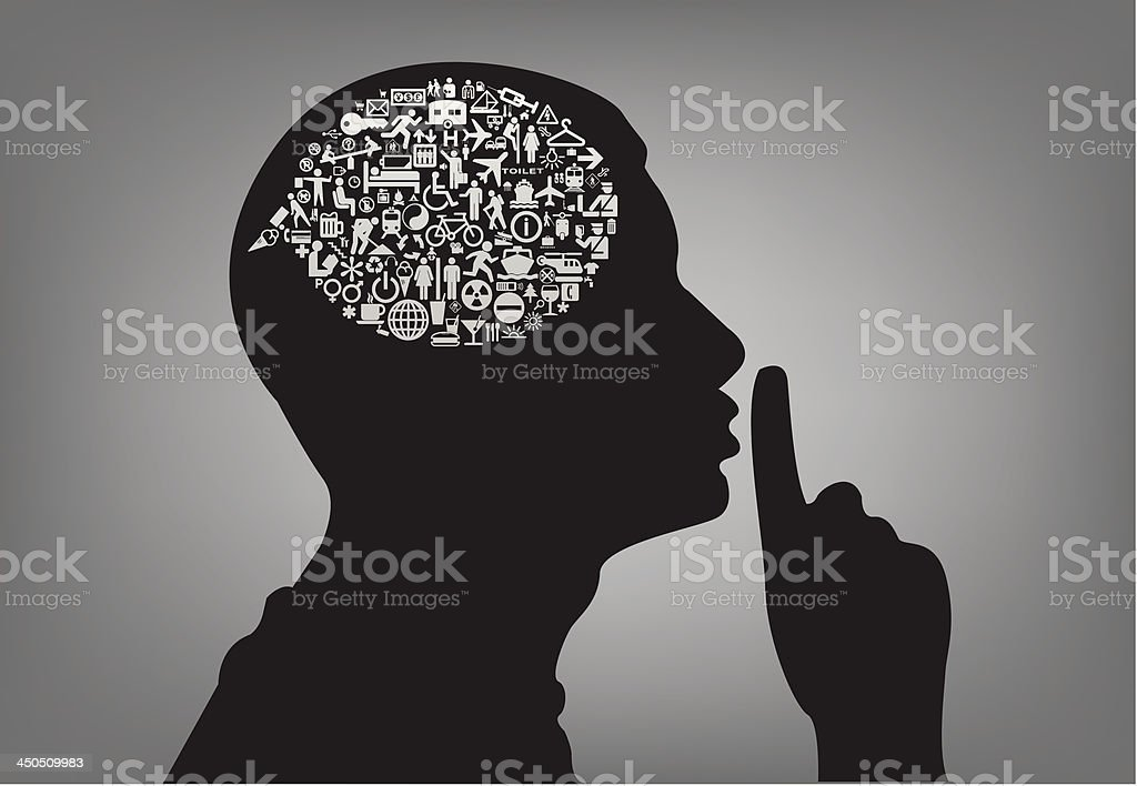 Silhouette of a man shushing with a thought bubble of icons vector art illustration