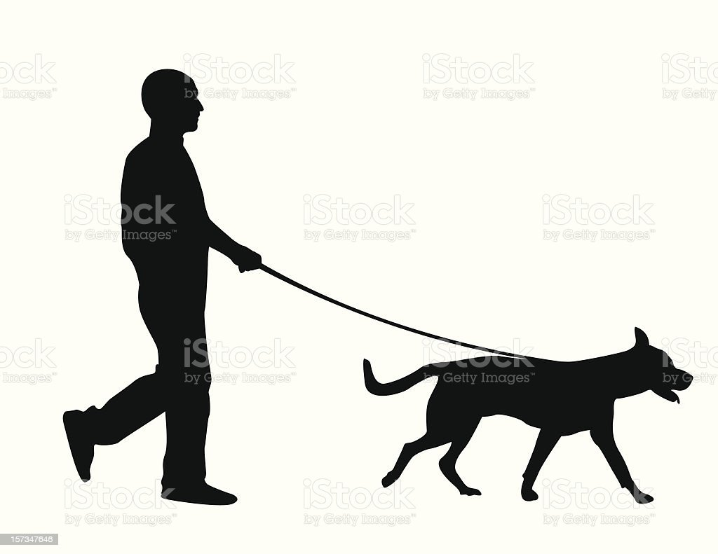 Silhouette of a man walking a dog over a white background vector art illustration