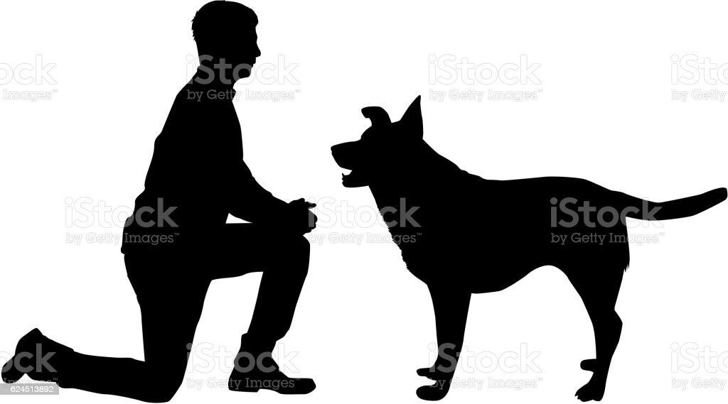 Silhouette of a man with a dog. vector art illustration